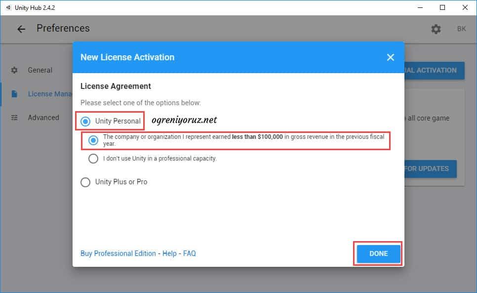 Unity Hub lisans seçimi ekranı