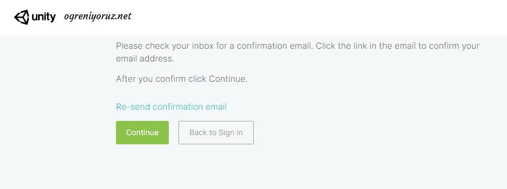 unity mail onayi ekrani