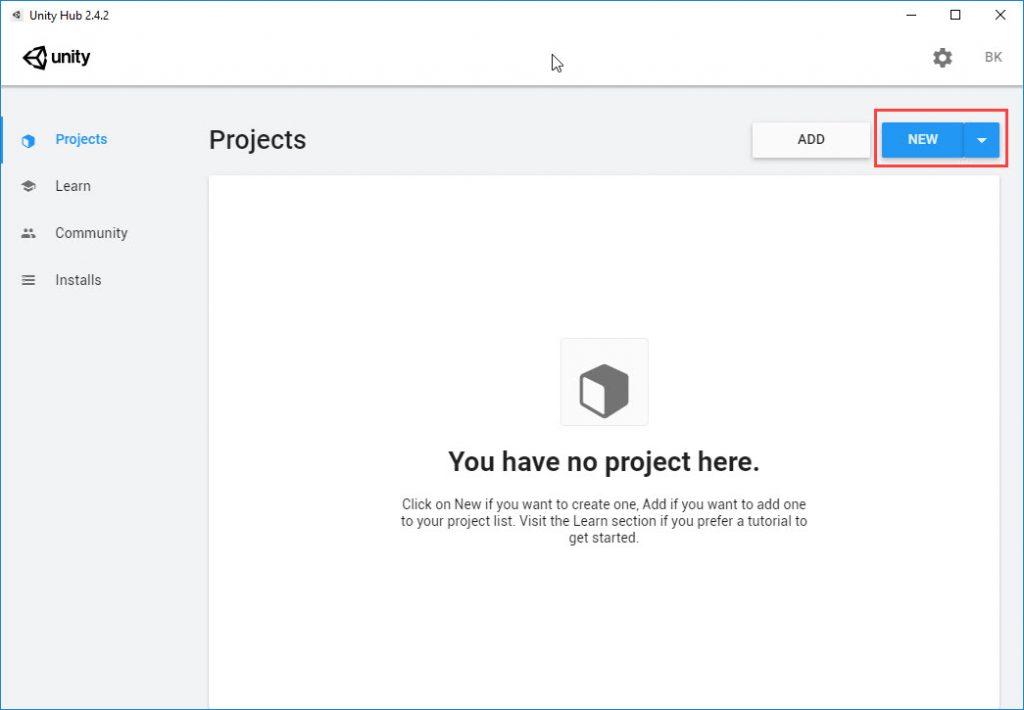 Unity yeni proje oluşturma ekranı.