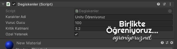 Unity Inspector Değişken Atama