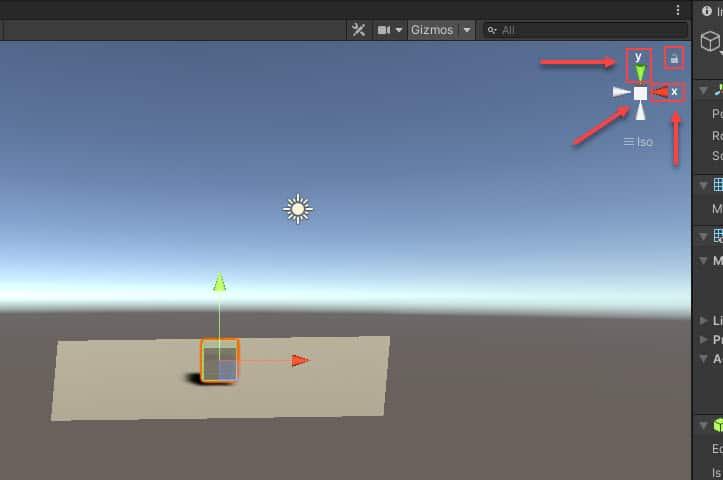 Unity sahne ekranı pusula