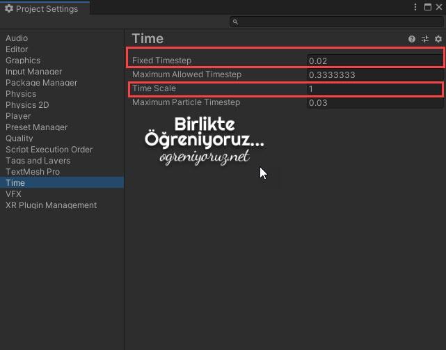 Unity Update ve FixedUpdate Ayarları Ekranı