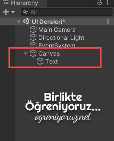 Unity UI Canvas Objesi