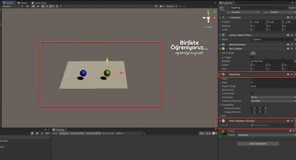 Unity fiziksel etkileşim sahne tasarımı