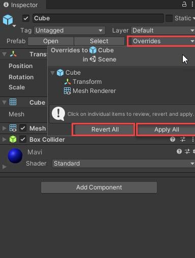 Unity Prefabs değişikliklerini kaydetme.