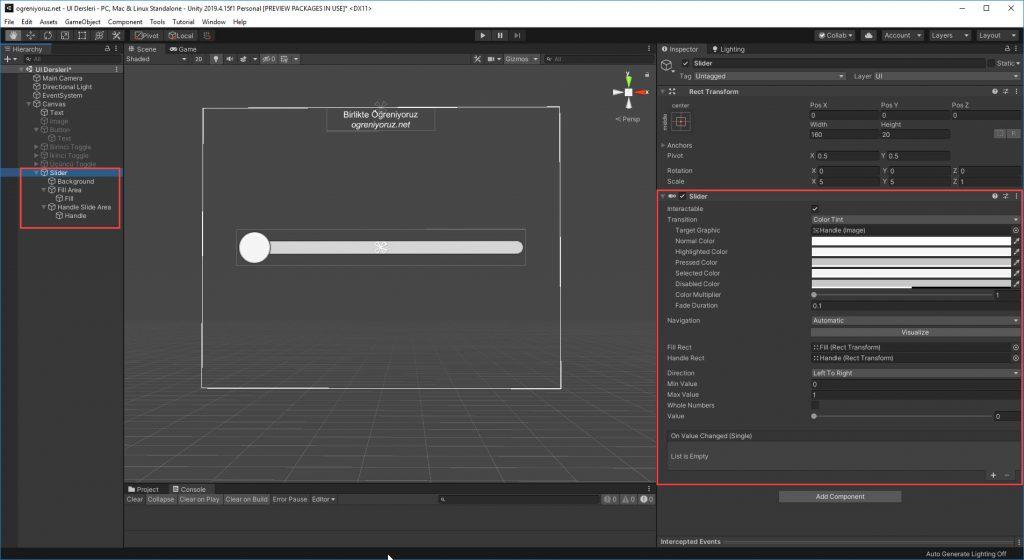 Unity UI Slider Bileşeni