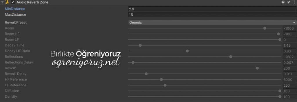 Audio Reverb Zone Bileşeni Ayarları