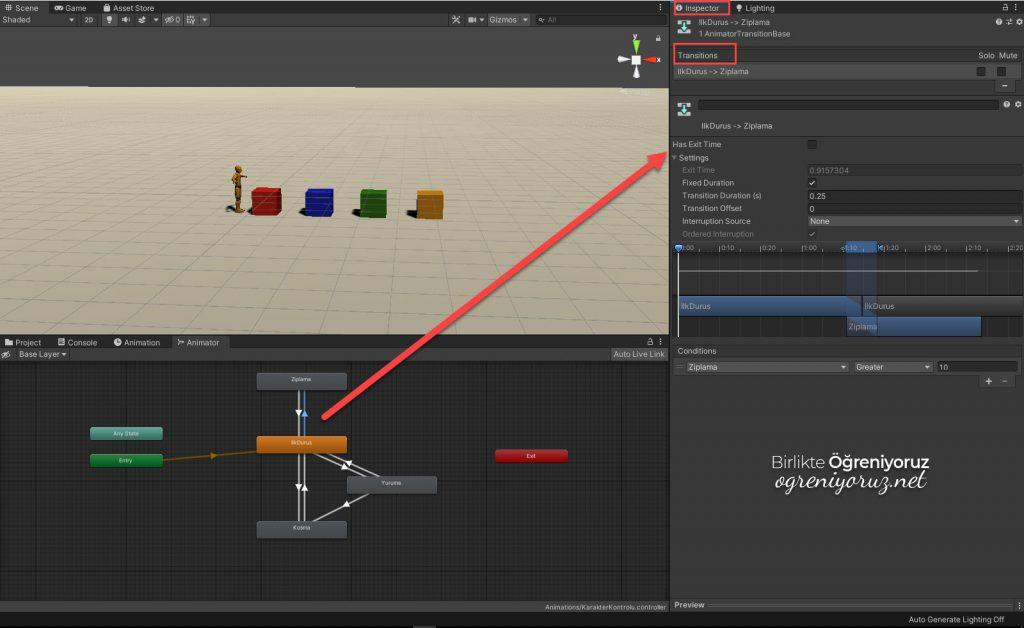 animator transition ayarlari 1