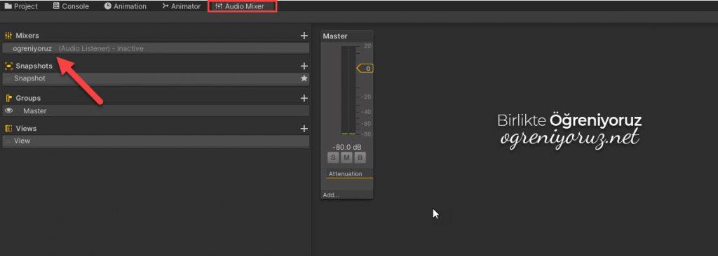 Audio Mixer Ekleme