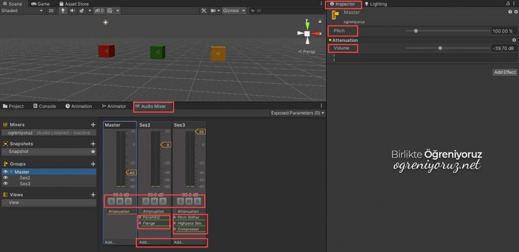 Audio Mixer Ekran Öğeleri