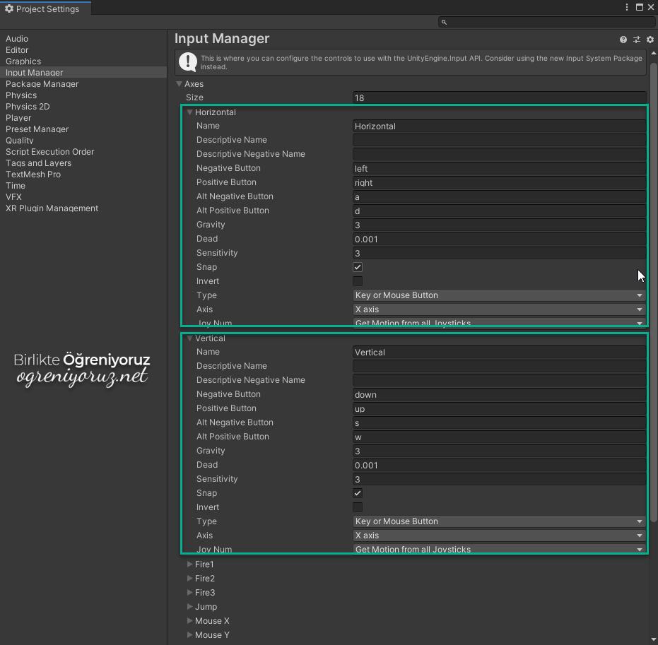Input Manager Horizontal ve Vertical